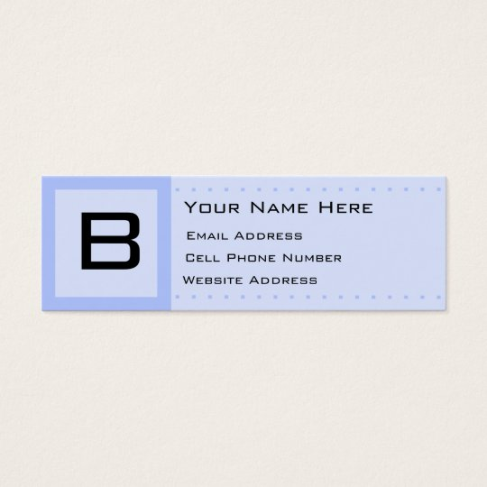 Blue Deco Initial Skinny Profile Business Card