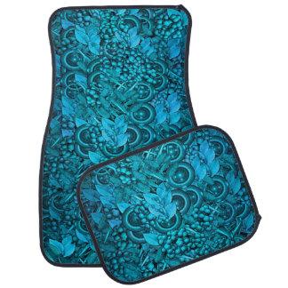 Blue Decorative Element Design Set of 4 Car Mats