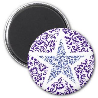 blue decorative floral star 2 inch round magnet