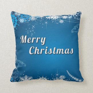 Blue Decorative Snow Glitter Merry Christmas Pillow