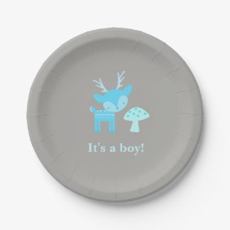 Blue Deer And Mushroom Baby Shower Paper Plate