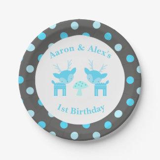 Blue Deer Polka Dot Birthday Paper Plate