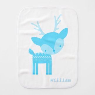 Blue Deer Polka Dot Burp Cloth