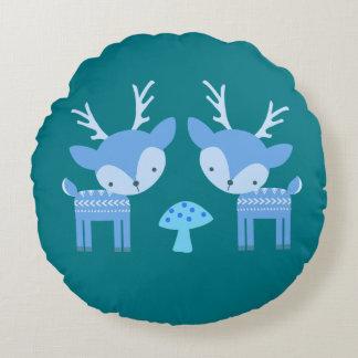 Blue Deer Round Pillow
