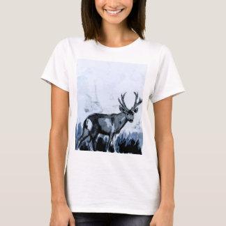 Blue Deer Watercolor T shirt