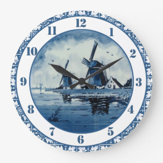 Blue Delft Blue Windmill Clocks