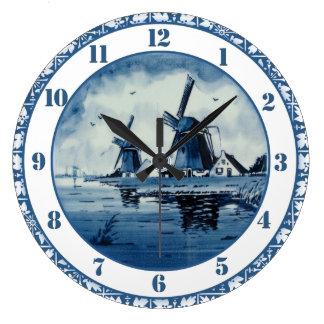 Blue Delft Blue Windmill Large Clock