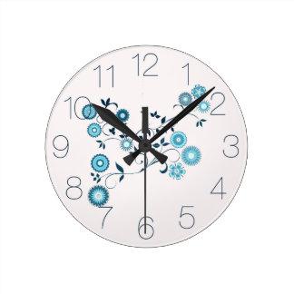 Blue Delft Floral Round Clock