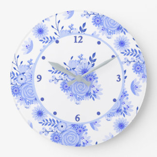 Blue Delft Floral Wall Clock