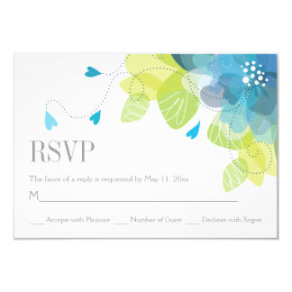 Blue delicate spring flowers floral wedding RSVP Card