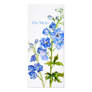 "Blue delphinium art wedding dinner menu 4"" x 9.25"" invitation card"