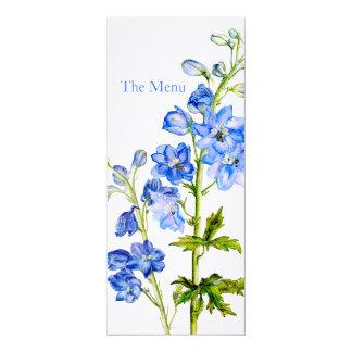 "Blue delphinium art wedding dinner menu 4"" x 9.25"" invitation card"