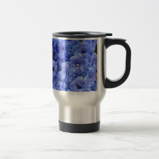 Blue delphinium flowers travel mug