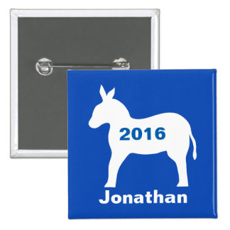 Blue Democratic Donkey 2016 Election Name Badge 2 Inch Square Button