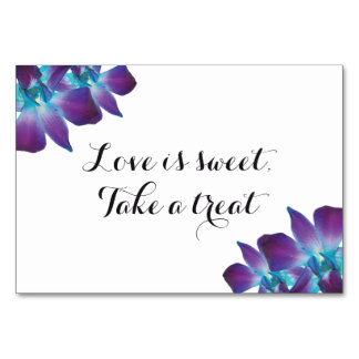 Blue Dendrobium Orchid Love is Sweet Wedding Sign Card