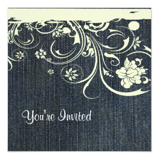 Blue Denim and Lace Birthday Invitation
