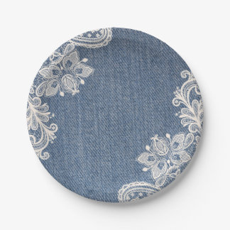 Blue Denim and Lace Country Chic Paper Plate 7 Inch Paper Plate