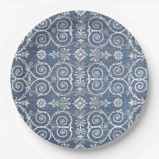 Blue Denim and Lace Shabby Chic Paper Plate 9 Inch Paper Plate