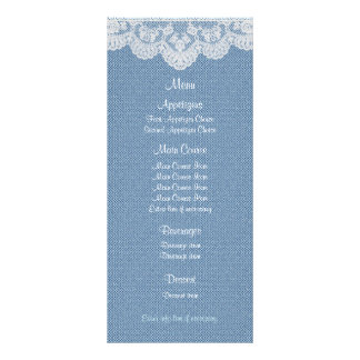 Blue Denim and Lace Wedding Menu Rack Card