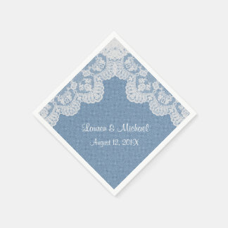 Blue Denim and Lace Wedding Paper Napkins