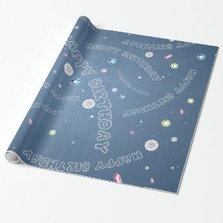 Blue Denim and Rhinestones Happy Birthday Wrapping Paper