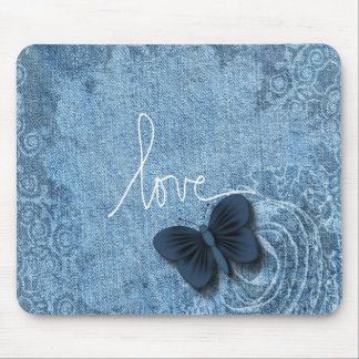 Blue Denim Butterfly Love Mouse Pad