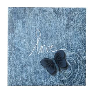 Blue Denim Butterfly Love of Nature Tile