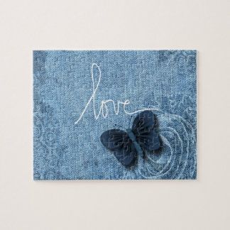 Blue Denim Butterfly Love Sweet Jigsaw Puzzle