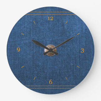 Blue Denim Button Down Jeans with Stitching Large Clock