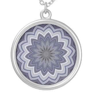 Blue Denim Daisy Mandala Pendant Necklace