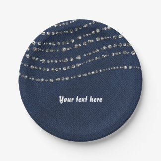 Blue Denim & Diamonds Sparkle Bling Birthday Party 7 Inch Paper Plate
