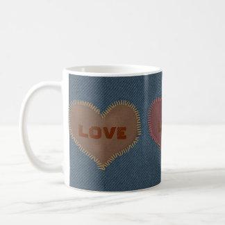 Blue Denim Heart Patches of Love Classic White Coffee Mug