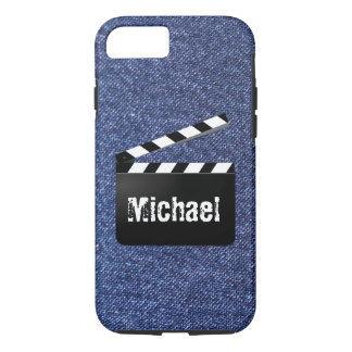 Blue Denim Jeans Clapperboard Personalized Name iPhone 7 Case