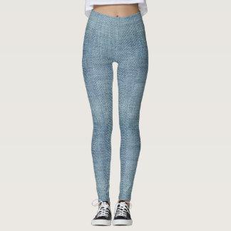 Blue Denim Jeans Pattern Leggings