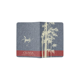 BLUE DENIM JEANS RED WHITE  BAMBOO LEAVES MONOGRAM PASSPORT HOLDER