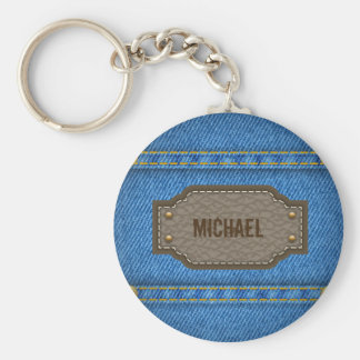 Blue denim jeans with leather name label basic round button keychain