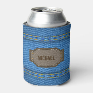 Blue denim jeans with leather name label can cooler