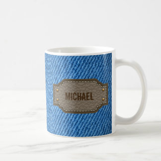 Blue denim jeans with leather name label coffee mug