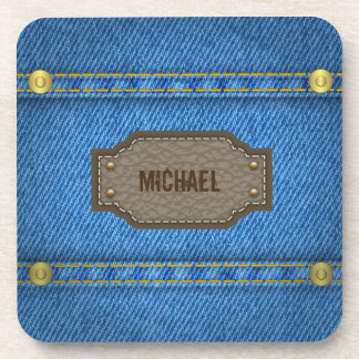 Blue denim jeans with leather name label drink coaster