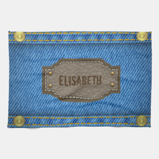 Blue denim jeans with leather name label kitchen towels