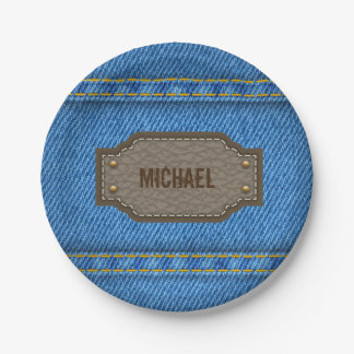 Blue denim jeans with leather name label paper plate