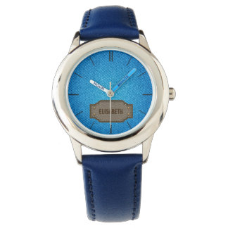 Blue denim jeans with leather name label wrist watches
