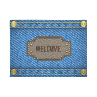 Blue denim jeans with leather welcome label doormat