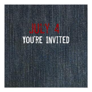 Blue Denim Patriotic Invitation