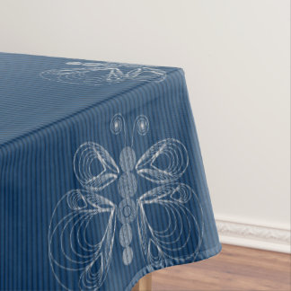 Blue denim pattern with white butterflies tablecloth