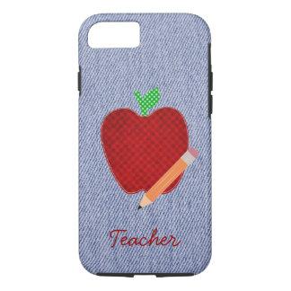 Blue Denim & Red Apple Teacher's iPhone 7 Case
