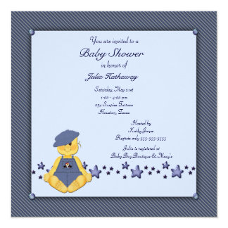 Blue Denim Stars Baby Boy Shower Card