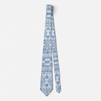 Blue Denim Tribal Aztec Pattern Men's Tie