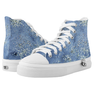 Blue Denim Wash with Silver Sparkles High Tops