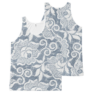 Blue Denim White Floral Lace Image All-Over-Print Tank Top